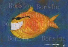 Kids room Wall Art Mr Fish  Print of original painting by BorisInc, $30.00