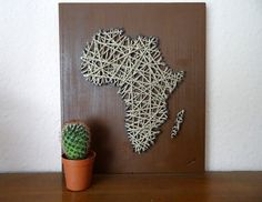 Africa Map made of cord and wood 11x13 27x32cm by BeauGrandMonde, €15.00