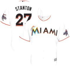 Giancarlo Stanton Miami Marlins Majestic Home Cool Base Player Jersey with 2017 All-Star Game Patch - White - $134.99
