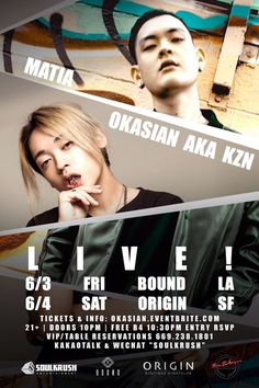 "Come party w/ #오케이션 #Okasian #KZN + #Matia + Live on stage!  . 6/3 FRI BOUND LA 6/4 SAT ORIGIN SF . Tix & Info: www.okasian.eventbrite.com VIP 1-669-238-1801 Kakao ""SOULKRUSH"" . #okasian  #matia #la #sf #soulkrush #boundla #originsf #hiphop #trap #futurebass #edm #nightlife #underwater #squad #ktown #korean #rapper #한인 #파티 #클럽 #샌프란시스코 #엘에이 #유학생"