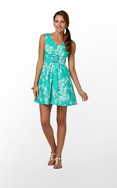 """""""Parker Dress"""" in """"Lagoon Green Birds And The Bees"""" (Spring 2012) #lillywishlist"""