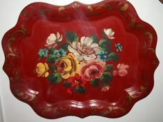 Hand-Painted-Tole-Tray-Red-18x13-Vintage-French-Country-Cottage-Shabby-ChiC