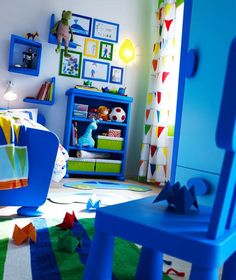 Blue, green, red, and white, boys bedroom