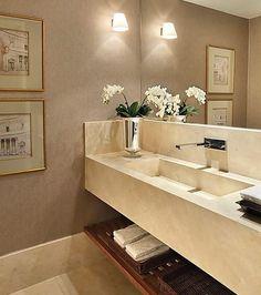 Lavabo ✔️ Algumas dicas para seu lavabo, - Espelhos grandes, (extensão de uma parede, até o teto) ...