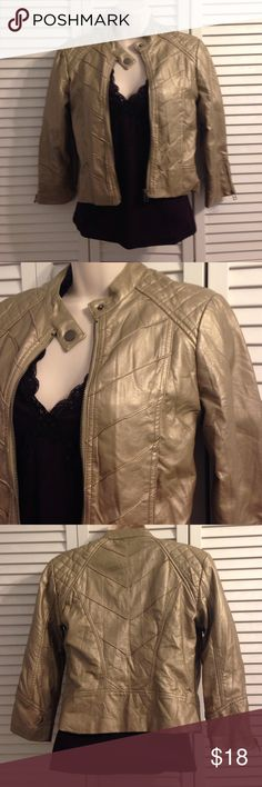 🎉HP🎉 Faux Leather Jacket Daytrip Gold Faux Leather Jacket. 3/4 Length Sleeves. Shell: 100% Polyurethane with Rayon Backing. Lining: Polyester. Daytrip Jackets & Coats