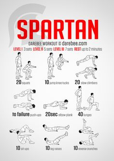 Spartan Workout - Spartans took pain and made it their friend. The Spartan workout exercises some major muscle groups to give you the total warrior feeling when you move.