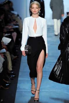 White open top and black pencil skirt. Michael Kors, fall 2011.