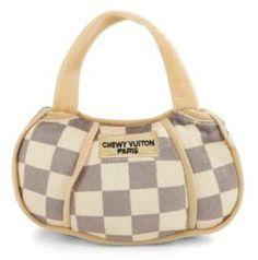 Chewy Vuitton Checker Handbag dog toy