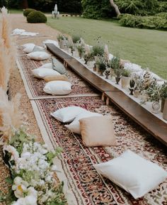 Outdoor party with oriental rugs is just perfect!