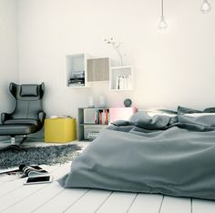 A perfect bedroom for minimalist style lovers - gray bedding and white wall with modular set of furniture by #TETREES
