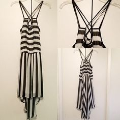 B&W Striped High Low Dress Brand new, Perfect condition. Never worn. Sans Souci Dresses High Low