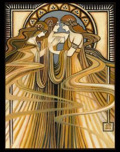 "Three Graces Art Deco Print Art Nouveau Fine Art Deco Pagan Bohemian Greek Goddess Art : ""The Three Graces"" ~ The Greek Goddesses of charm, beauty, nature, human creativity and fertility. - Painting by Emily Balivet Art Nouveau, Greek Goddess Art, Grace Art, Jugendstil Design, Illustration Art, Illustrations, Kunst Poster, Shabby Chic Pink, Inspiration Art"