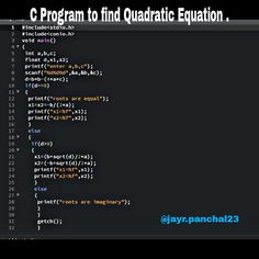 C Programming For Beginners Master the C Language - C Programming - Ideas of C Programming - C program to find Quadratic Equation. C Programming Ideas of C Programming C program to find Quadratic Equation. C Programming Book, C Programming Tutorials, Computer Programming Languages, Computer Coding, Python Programming, Computer Science, Agile Software Development, Energy Technology, Data Science