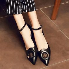 Leather Womens Pointy Toe Ankle Strappy Chunky Heels Shoes Sandals Office
