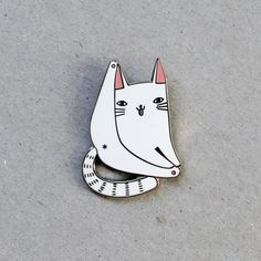 Cat forever enamel pin badge  lapel metal white by SurfingSloth