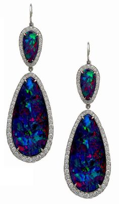 Platinum Black Opal and Diamond Earrings from the Stephen Russell Collection. Photo c/o Stephen Russell Platinum Black Opal and Diamond Earrings from the Stephen Russell Collection. Photo c/o Stephen Russell I Love Jewelry, Fine Jewelry, Jewelry Design, Jewelry Box, Jewelry Supplies, Jewelry Stores, Jewelry Bracelets, Bijoux Art Deco, Opal Earrings