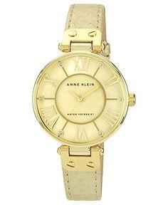 Anne Klein Watch, Womens Gold Snake Print Leather Strap 34mm AK-1012GMGD - Anne Klein - Jewelry & Watches - Macys