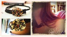 Banda elástica que se puede utilizar tanto de diadema como de collar. Con flor de tela en animal print.