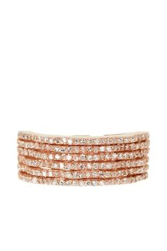 Effy 14K Rose Gold Pave Diamond Wavy Multi-Row Ring