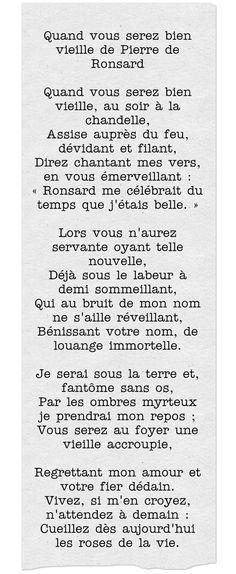 """""""Quand vous serez bien vieille"""" de Pierre De Ronsard."""