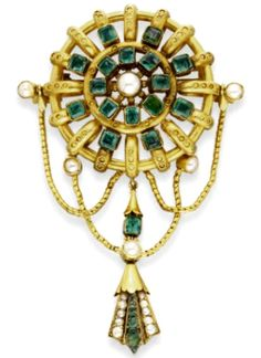 Gold, Emerald and Pearl Brooch