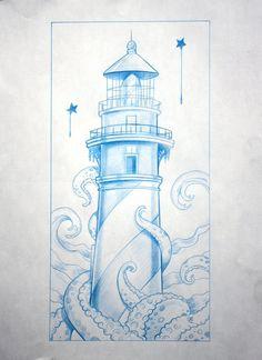 Maritime Tattoo, Nautical Drawing, Tatuaje Old Schoo… – Octopus Tattoo Tattoo Sketches, Tattoo Drawings, Art Sketches, Art Drawings, Traditional Lighthouse Tattoo, Traditional Tattoo Art, Lighthouse Sketch, Lighthouse Art, Octopus Tattoo Sleeve