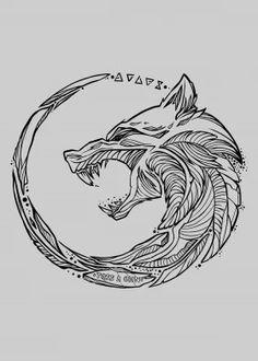 the-witcher posters - metal posters - Displate Hai Tattoos, Neue Tattoos, Wolf Tattoos, Body Art Tattoos, Sleeve Tattoos, Tattoos For Guys, Animal Tattoos, Viking Tattoo Symbol, Norse Tattoo