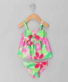 Take a look at this Green & Fuchsia Floral Bow Bikini - Infant & Toddler by Vacation Getaway: Kids' Apparel on #zulily today!