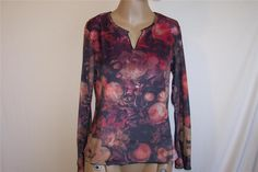 ONE WORLD Shirt Top M Long Bell Sleeves Soft Watercolor Floral Casual Womens #OneWorld #KnitTop #Casual