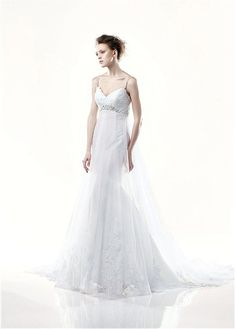 LOVELY TULLE SPAGHETTI EMPIRE MERMAID WEDDING DRESS LACE BRIDESMAID PARTY EVENING GOWN IVORY WHITE FORMAL BRIDAL PROM