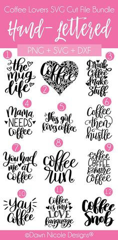 12 Hand-Lettered Coffee Phrases SVG Cut File Bundle