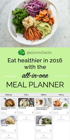 """Get healthier this year with the only meal planning tool that does it all for you: customized menu suggestions based on your diet, drag-and-drop menu editing, a """"smart"""" shopping list that combines all weekly ingredients, pantry management system and more. You'll save time, save money, and eat better. Start your free trial today!"""
