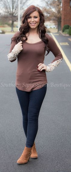 Mocha Crochet Sleeve Top / Southern Sophisticate Boutique