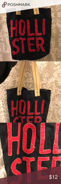 Hollister bag. Distressed Hollister shoulder tote bag! The bag/lettering detail is distressed (I bought it like that) Excellent used condition! (Navy and pink) Hollister Bags