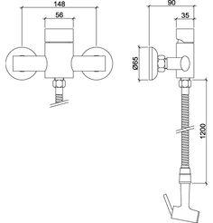 """Misturador monocomando ducha higiênica - flexível de 1,20m, cromado, gatilho em metal, conexão de entrada 1/2""""."""