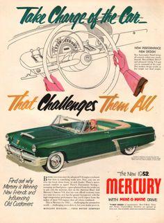 1952 Mercury Monterey convertible car print ad Green by Vividiom, $9.00