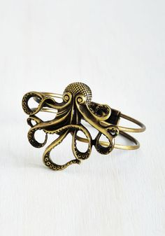 My Pet Octopus Bracelet - Silver, Gold, Casual, Statement, Nautical, Best Seller, Variation, Summer, Print with Animals, Silver, Social Placements, Quirky, Critters