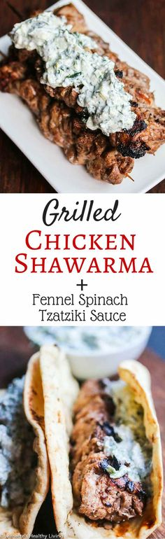 Grilled Chicken Shawarma with Fennel Spinach Tzatziki Sauce - the chicken is marinated with Greek yogurt, allspice, coriander, cumin and cinnamon; and the sauce is a mixture of Greek yogurt, fresh dill, mint, parsley, spinach, fennel and cucumber. Impress your family and friends with this flavorful grilled chicken dish served with a cool topping. ~ http://jeanetteshealthyliving.com