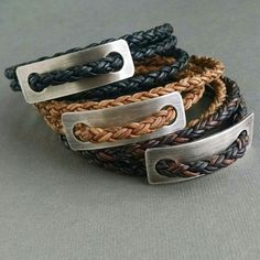 Silver Plaque Men's Wrap in 3 colors of naturally dyed leather