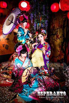 A modern take of 3 oiran at a kimono photography experience.