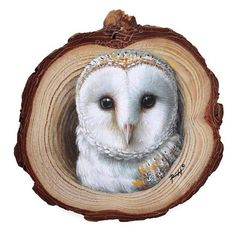 A Realistic Barn Owl Coming Out from Its Lair, a Unique Wood Slice Painting by Roberto Rizzo! Original Art Hand Painted An incredibly detailed barn owl, made of . Painted Rocks For Sale, Hand Painted Rocks, Painted Wood, Stone Painting, Painting On Wood, Arte Naturalista, Owl Home Decor, Owls Decor, 3d Art