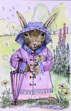 Excited to share the latest addition to my #etsy shop: Whimsical Rabbit Watercolor Spring Bunny Illustration Nursery Art http://etsy.me/2DEvcgC #art #painting #purple #brown #rabbit #bunny #spring #raindrops #raingear