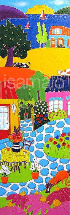 Belle vue sur les jardins et la campagne par Isabelle Malo • Acrylique sur toile • Folk art  • www.isamalo.com • Artiste peintre du Québec •Art naïf