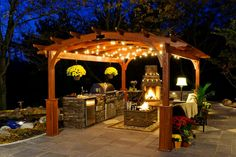 29 Modern Outdoor Kitchen Plans with Fireplace : Outdoor Kitchen Designs Gorgeous Outdoor Kitchen Gazebo Designs With Timber Pergola Roofing And Stone Veneer Outdoor Fireplace Design Timber Pergola, Pergola With Roof, Cheap Pergola, Pergola Kits, Gazebo Lighting, Backyard Lighting, Lighting Ideas, Landscape Lighting, Outdoor Lighting