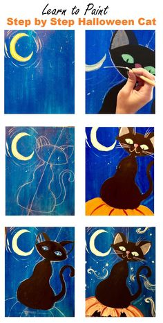 Check out this cool tutorial for how to paint a Halloween cat! Easy acrylic canvas tutorial for beginners. Learn How To Paint A Halloween Cat - Step By Step Painting directions. Halloween Canvas Paintings, Canvas Painting Tutorials, Easy Canvas Painting, Moon Painting, Halloween Painting, Halloween Cat, Painting For Kids, Diy Painting, Painting & Drawing
