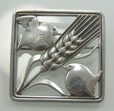 .925 sterling silver Georg Jensen #250 brooch pin birds & wheatsheaf London 1957