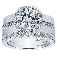 DIAMOND ENGAGEMENT RINGS - 18K White Gold Wide Brushed Channel Set Diamond Engagement Ring