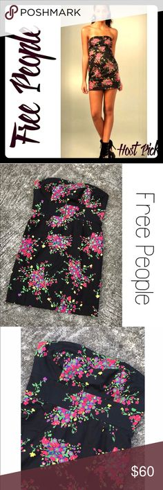 🎉HP!🎉Free People Poison Apple Black Floral Dress 🎉Host Pick!🎉 Free People strapless dress with sweetheart neckline and full back zip. Boning in Bodice, empire waist. Can be worn as a dress (my favorite way!) or with leggings. Size 0. NWOT. Re-listing this it was too tight on me! Sad to let it go! Free People Dresses