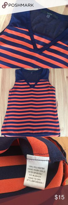 ☀️Navy/Orange Sleeveless Blouse •Navy/Orange •100% Polyester •No stains/tears •Smoke free home  •Sorry, I do not model clothing items  •No trades/holds Tops Blouses