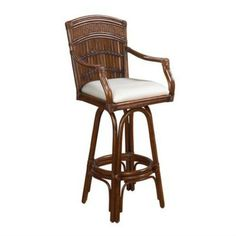 Designed with an island paradise in mind, the Hospitality Rattan Polynesian Indoor Swivel Bamboo & Rattan Bar Stool with Cushion - Antique is crafted from rattan and bamboo, creating a sophisticated and unique stool that brings the warmth of the tropics to your home. A beautiful and comfortable cushion accents the warm antique finish of this classic chair, bringing out its richness and detailing.